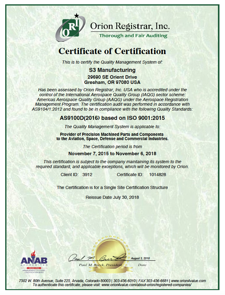 Iso 9001 Certification S3 Manufacturing Inc As9100 Iso9001